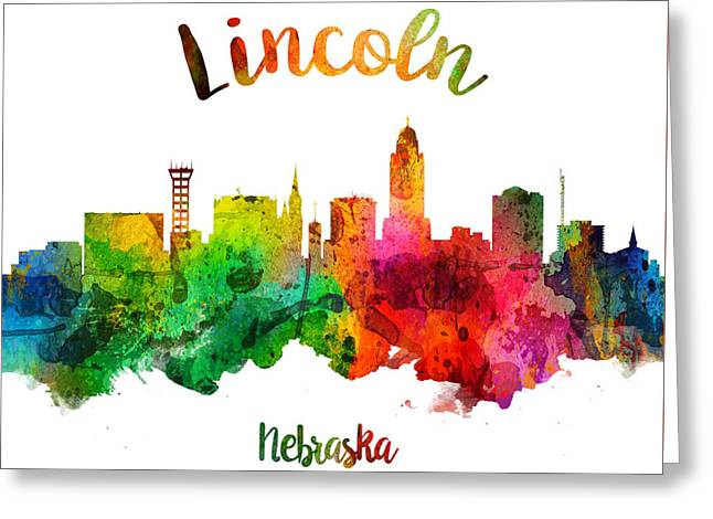 Lincoln Nebraska Skyline 24 Greeting Card by Aged Pixel
