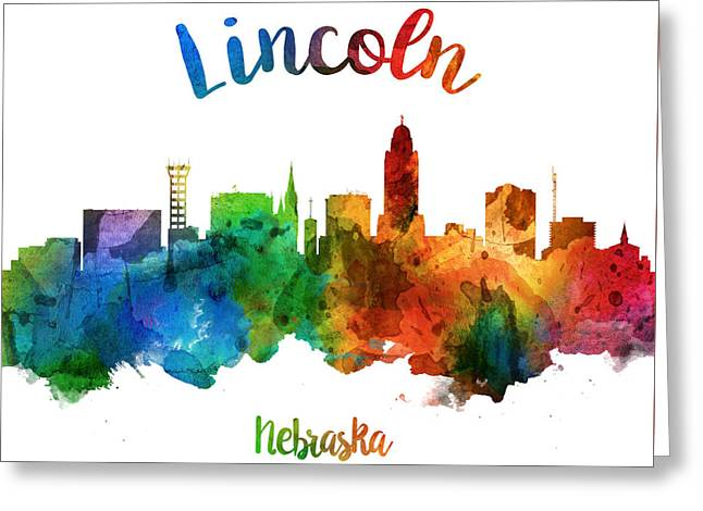 Lincoln Nebraska Skyline 25 Greeting Card by Aged Pixel