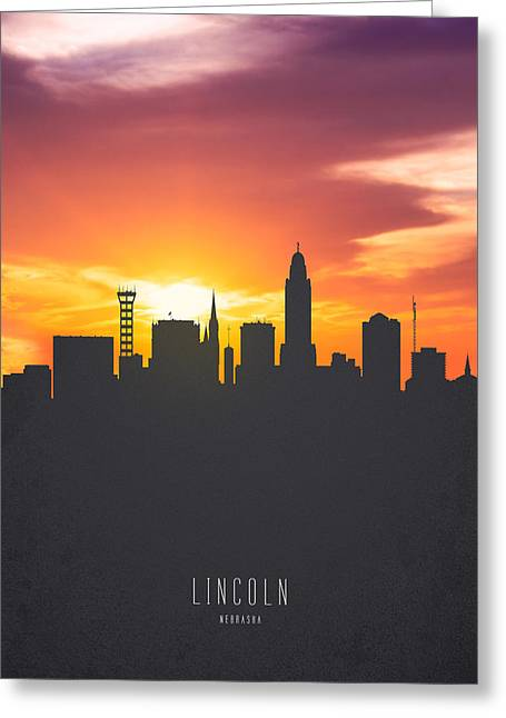 Lincoln Nebraska Sunset Skyline 01 Greeting Card by Aged Pixel