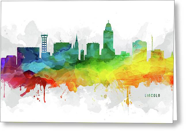 Lincoln Skyline Mmr-usneli05 Greeting Card by Aged Pixel