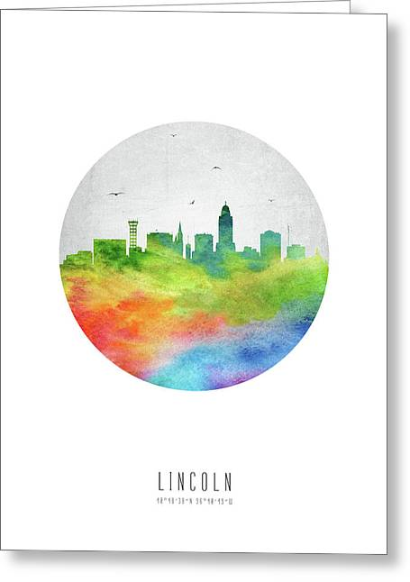 Lincoln Skyline Usneli20 Greeting Card by Aged Pixel