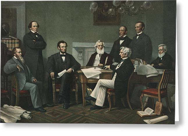 Lincoln's Cabinet Greeting Card by Francis Bicknell Carpenter