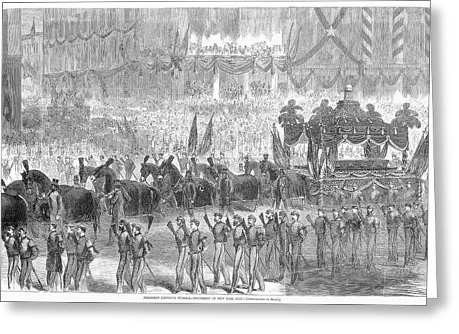 Republican Greeting Cards - Lincolns Funeral, 1865 Greeting Card by Granger