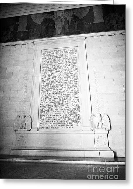 lincolns gettysburg address inside the lincoln memorial Washington DC USA Greeting Card
