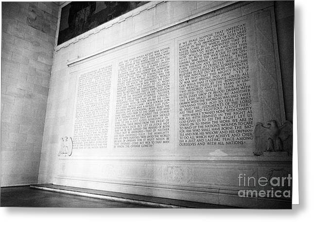 lincolns second inaugural address inside the lincoln memorial Washington DC USA Greeting Card