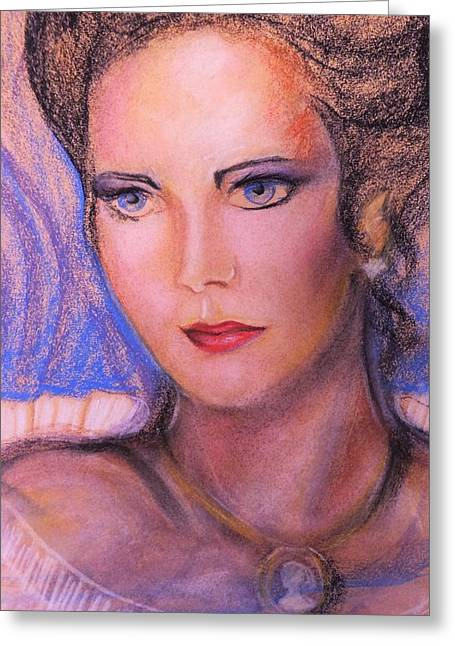Greeting Card featuring the pastel Linda Carter by Denise Fulmer