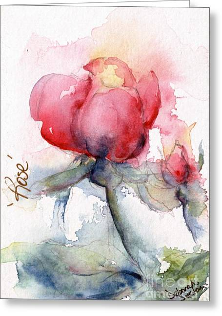 Linda's Rose Watercolor Greeting Card