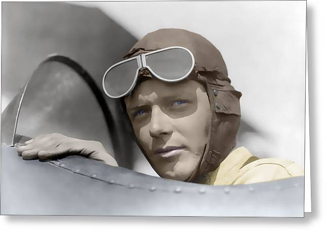 Lindbergh In Cockpit 1928 Greeting Card by Daniel Hagerman