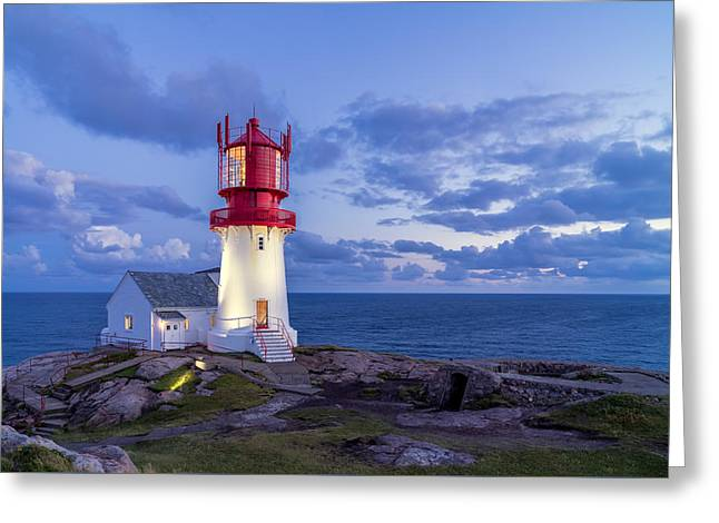 Lindesnes Fyr - Lighthouse In The South Of Norway Greeting Card by Georgy Krivosheev
