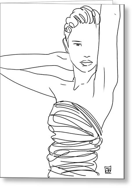Line Art Lady Greeting Card