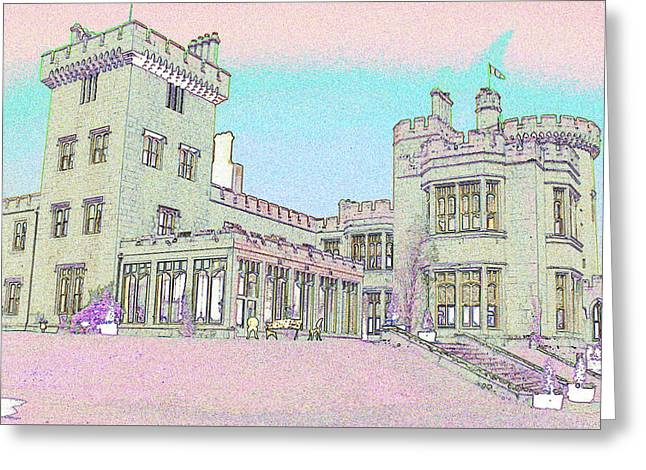 Line Art Of Dromoland Castle Greeting Card by Carl Purcell