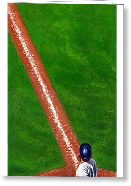 Baseball Paintings Greeting Cards - Line Drive Greeting Card by Harry West