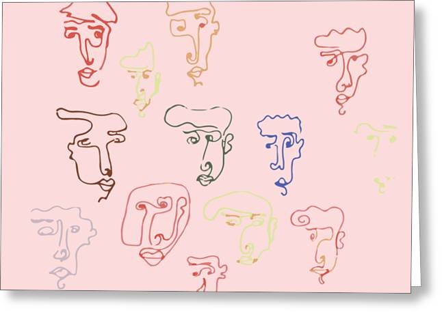 line faces I Greeting Card