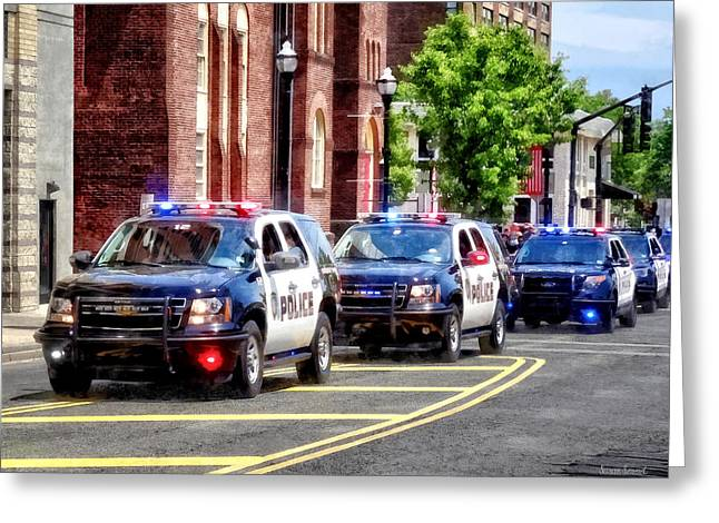 Line Of Police Cars Greeting Card