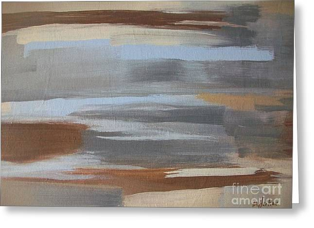 Linear Browns And Blues Greeting Card by Marsha Heiken