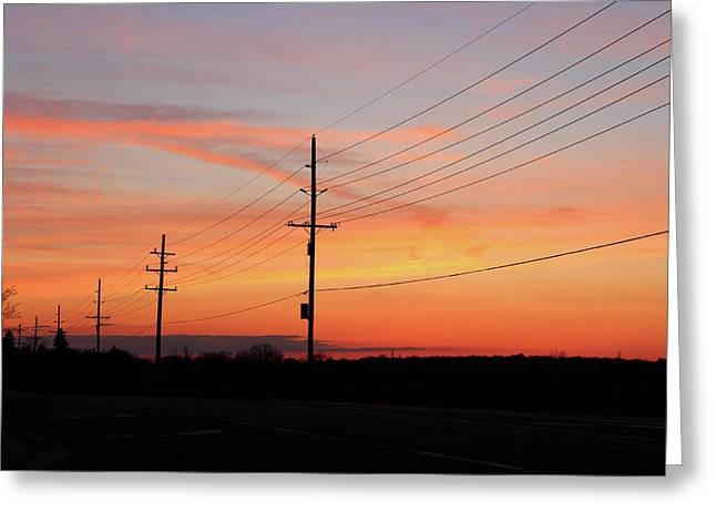 Lineman's Sunset Greeting Card