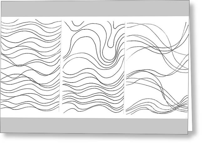 Lines 1-2-3 Black On White Greeting Card by Helena Tiainen