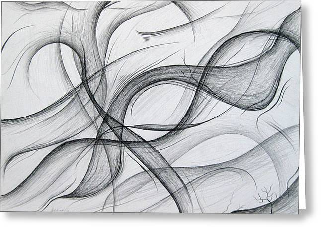Organic Drawings Greeting Cards - Lines and Formations for D Greeting Card by Michael Morgan
