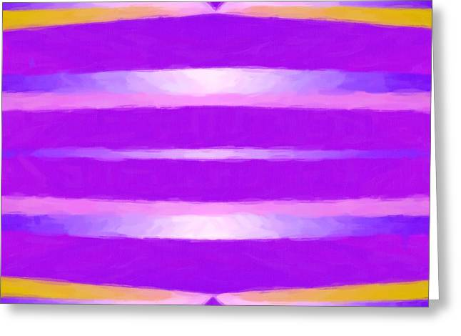 Sacred Tapestries - Textiles Greeting Cards - Lines in the Purple Greeting Card by Suzi Freeman