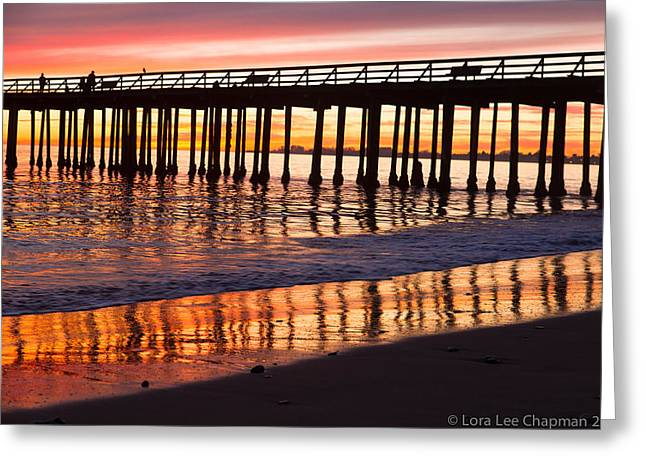 Sunset Seacliff Shadows Greeting Card by Lora Lee Chapman