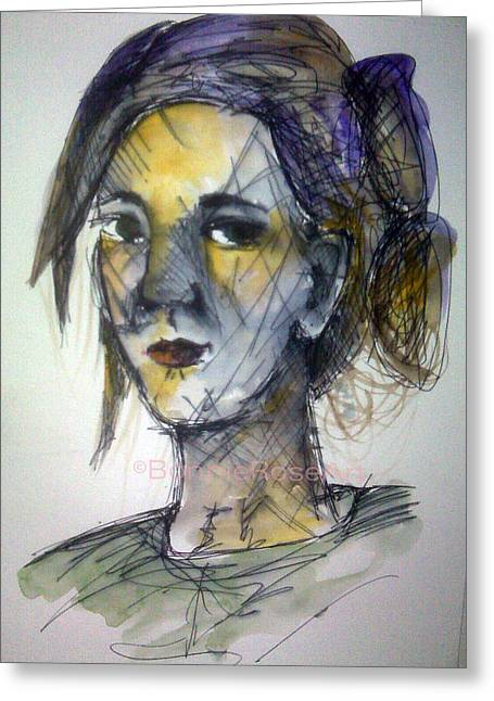 Bonnie Rose Art Greeting Cards - Lines On My Face Greeting Card by Bonnie Rose Parent