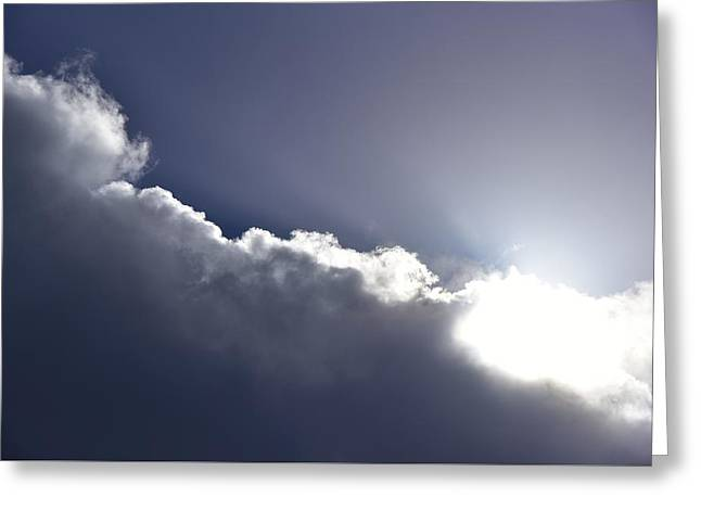 Lingering Storm Clouds Blue Cast Greeting Card by Linda Brody
