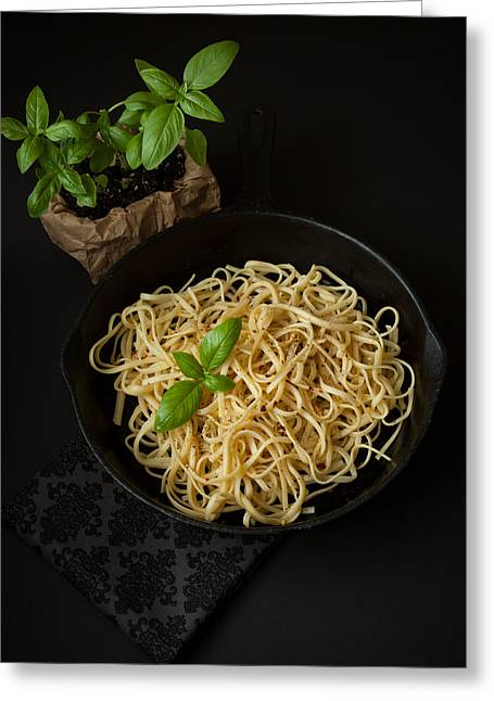 Linguine With Basil In Cast Iron Pan Greeting Card by Erin Cadigan