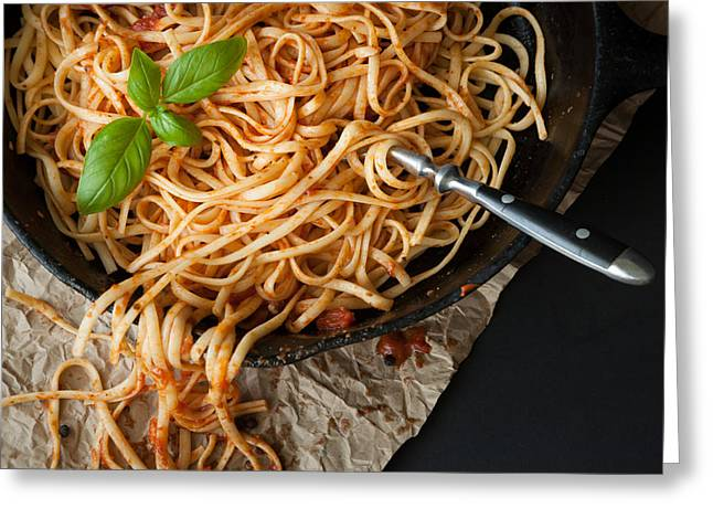 Linguine With Red Sauce And Fresh Basil In A Cast Iron Pan Greeting Card