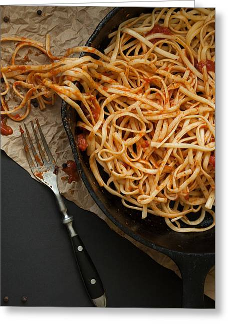 Linguine With Red Sauce In A Cast Iron Pan Greeting Card by Erin Cadigan
