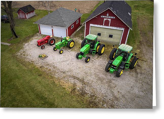 Lining Up The Tractors Greeting Card