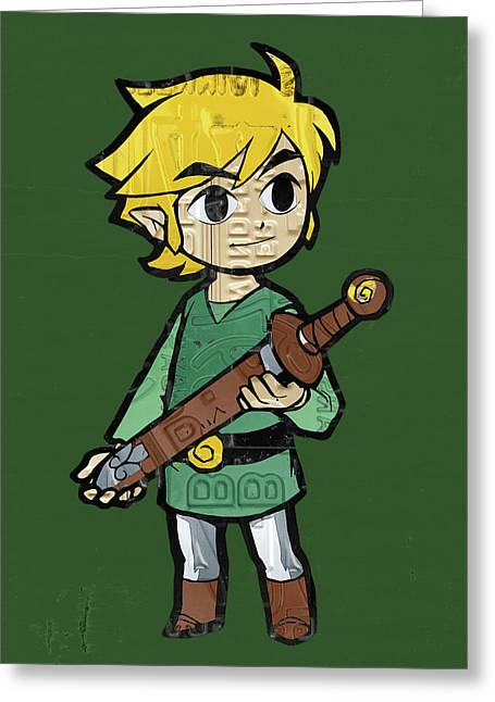 Link Legend Of Zelda Nintendo Retro Video Game Character Recycled Vintage License Plate Art Portrait Greeting Card
