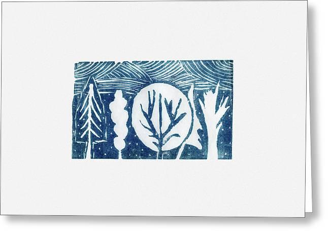 Linocut Trees Greeting Card by Anastasia Bogdanova