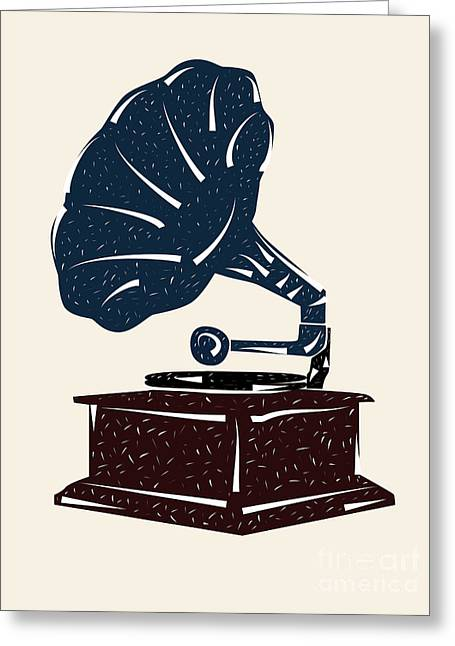 Linoleum Cut Gramophone Design Greeting Card