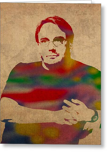 Linus Torvalds Linux Creator Watercolor Portrait On Worn Canvas Greeting Card by Design Turnpike