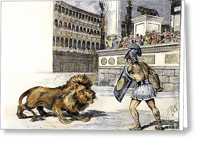 Lion & Gladiator Greeting Card by Granger