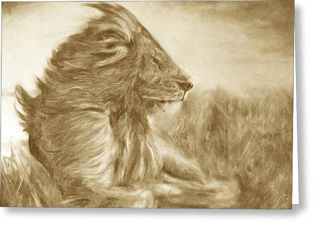 Lion Greeting Card by Adrienne Martino