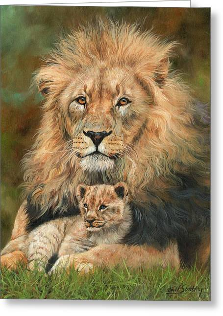 Lion And Cub Greeting Card by David Stribbling
