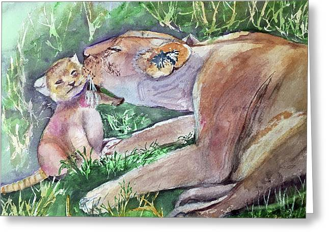 Lion And Cub Greeting Card