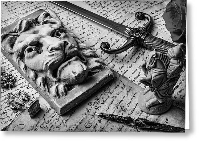 Lion And Dagger In Black And White Greeting Card by Garry Gay
