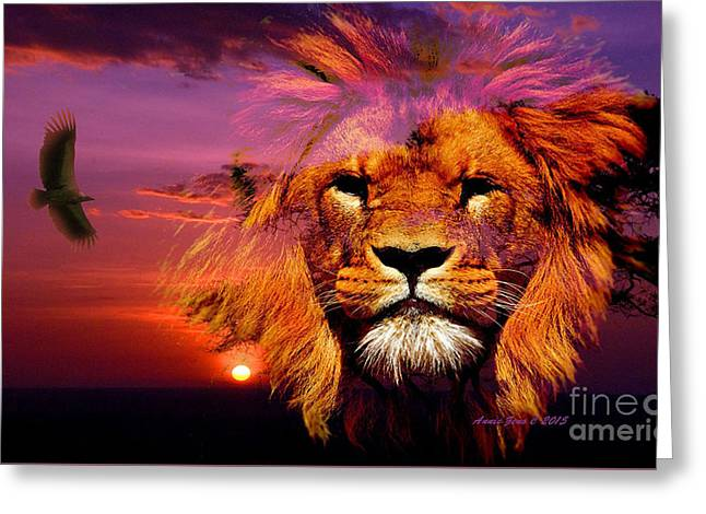 Lion And Eagle In A Sunset Greeting Card