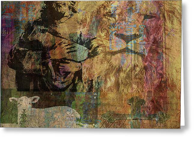 Lion And Lamb Collage Greeting Card by Angela Holmes