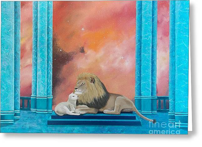Greeting Card featuring the painting Lion And Lamb by Tracey Goodwin