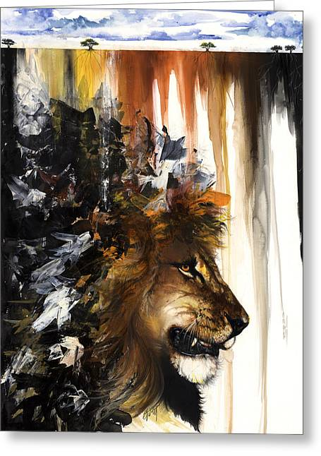African-american Mixed Media Greeting Cards - Lion and the Antelope Greeting Card by Anthony Burks Sr