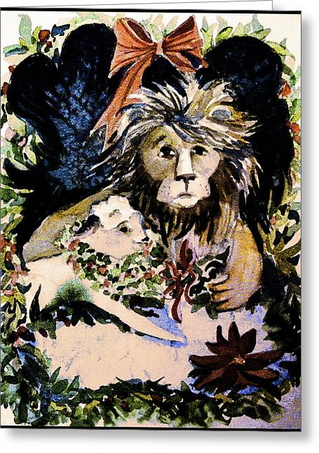 Lion And The Lamb Greeting Card by Mindy Newman