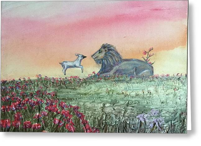 Lion And The Lamb Greeting Card