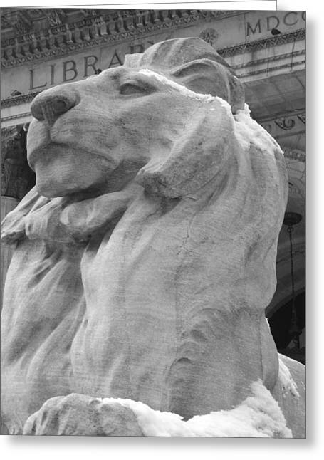 Lion At New York Public Library Greeting Card