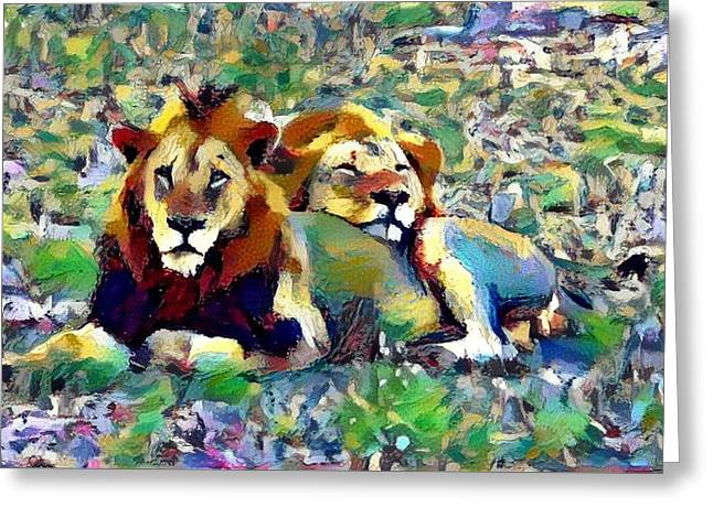 Lion Buddies Greeting Card