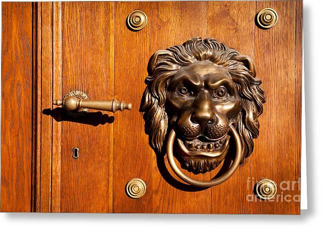 Lion Casting Knock Door Decoration Greeting Card by Arletta Cwalina