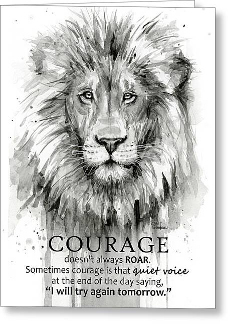 Lion Courage Motivational Quote Watercolor Animal Greeting Card