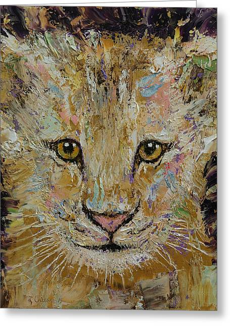 Lion Cub Greeting Card by Michael Creese